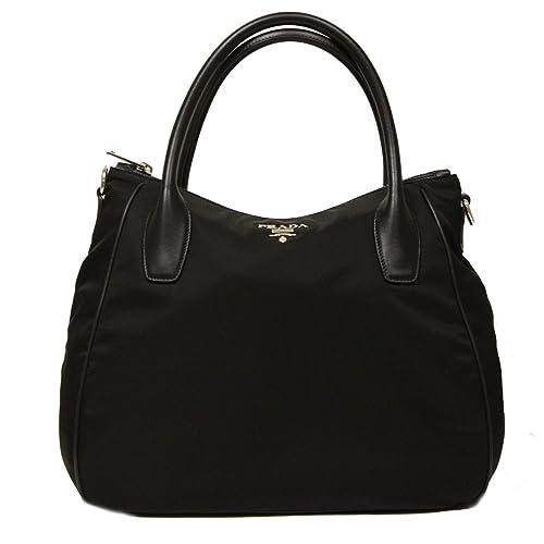 d644697cd5e7 Prada Nero Black Tessuto Soft Calf Leather and Nylon Hobo Handbag BR4992