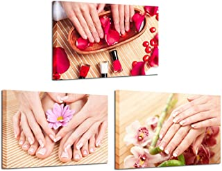 Kreative Arts Canvas Prints Wall Art Hands Spa Pictures Beauty Salon Manicure Concept Modern Wall Decor Stretched Gallery Canvas Wrap Giclee Print Ready to Hang 16x24inchx3pcs