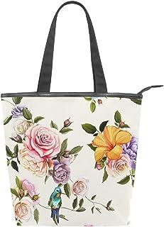 Jeansame Canvas Tote Bag Damen Shopper Top Griff Taschen Schulterhandtaschen mit Reißverschluss Vintage Blumen Rosen Landg...