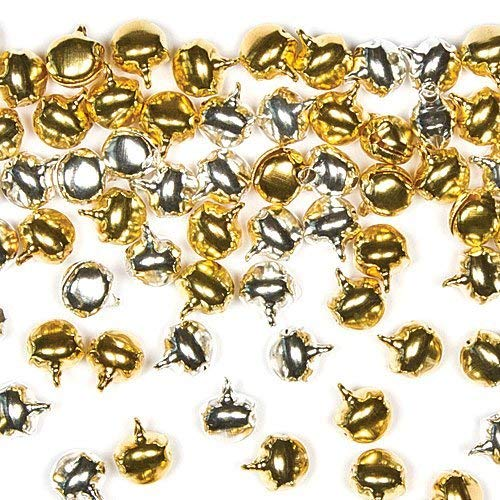 Baker Ross AF831 Schlittenglöckchen in Gold und Silber für Kinder zum Gestalten von Bastelarbeiten oder für Schmuckstücke (150 Stück), goldfarben