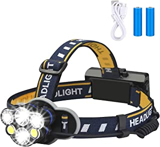 Rechargeable Headlamp, 8 Modes Waterproof Flashlight Head Lights 6 LEDs for Camping Hiking Hunting Outdoors, 2 X 18650 Bat...