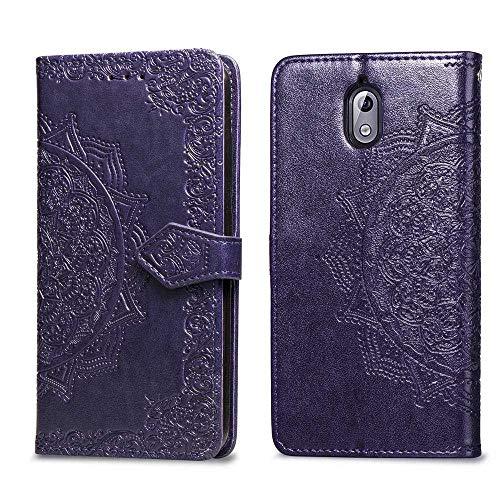 Bear Village Hülle für Nokia 3.1, PU Lederhülle Handyhülle für Nokia 3.1, Brieftasche Kratzfestes Magnet Handytasche mit Kartenfach, Violett