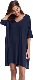 Aibrou Vêtements de Nuit pour Femmes Vêtements de Nuit à Manches Courtes V-Neck Nightie Sleep Nightgown Robes pour Toutes ...