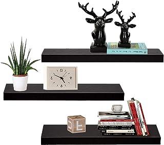 AZ L1 Life Concept Floating Wall Mounted, Set of 3 Display Ledge Shelves Wide Panel, Black