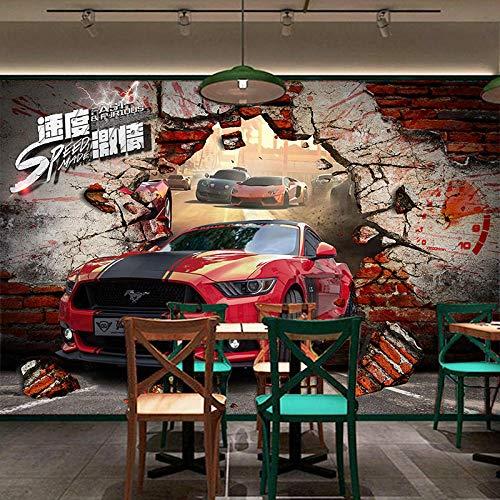 XCHBH Tapete Selbstklebende Tapete Wandbild (B) 300X (H) 210Cm3D Wandplakat Modifiziert Auto Auto Thema Wandkunst Große Fototapete Junge Schlafzimmer Innenausstattung Für Kinder Kunst