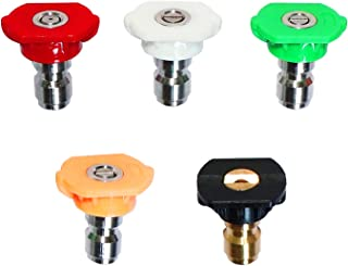 EDOU Pressure Washer Spray Nozzle Tips 1/4''Quick Connector,4000 PSI 3.0 GPM,5-Pack Multiple Degrees(0、15、25、40 Degrees,Soap)