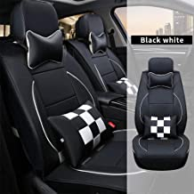 All Weather Custom Car Seat Covers for Mercedes-Benz Most Car Models 5-Seat Full Protection Waterproof Fashion Ultra Comfort Black & White Full Set