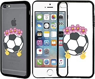 [Inkmodo] Clear TPU Case for iPhone 5 / 5S / SE - Soccer Ball Emoji Floral Crown Girly Sport Printed Unique Design Pattern Cover