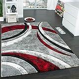 Paco Home Tappeto di Design con Bordo Definito Motivo A Righe Grigio Nero Rosso Screziato, Dimensione:80x150 cm