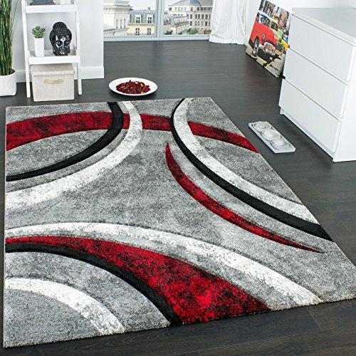 Paco Home Alfombra De Diseño con Ribetes Estampado con Rayas Gris Negro Rojo Moteada, tamaño:200x290 cm