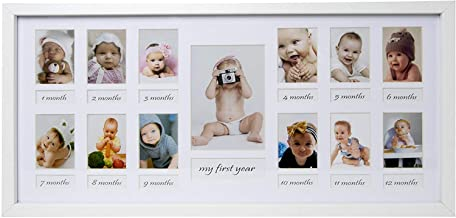 BD ART My Baby First Year - 23x50 cm White Picture Frame with Mat for 12 Pictures 5x7 cm and 1 Picture 9x13 cm