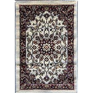 Deir Debwan Traditional Door Mat Ivory Persian (330,000 Point) Area Rug Design #603(2ft.x3ft.)