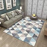 Kunsen Antideslizante para alfombras decoración habitación Bebe Salón Dormitorio Alfombra Rectangular Azul Gris Antideslizante y Resistente al Desgaste Cuadro Comedor 200X300CM 6ft 6.7' X9ft 10.1'