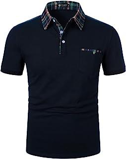 STTLZMC Polos Hombre Mangas Corta Clásico Plaid Cuello Camiseta T-Shirts