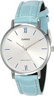 Casio LTP-VT01L-1BUDF Leather Round Analog Water Resistant Watch for Women