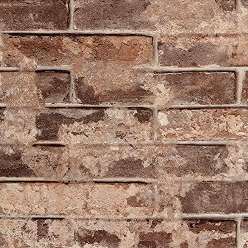 Livelynine 40CMx5M Selbstklebende Tapete Steinoptik Braun Küchenrückwand Folie Stein Tapete 3D Optik Industrie Wandtapete für Schlafzimmer Badezimmer Deko Kamin Elektrisch Rückwand Küche Ziegelstein