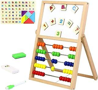 Abacos Para Niños de Madera Juguetes Montessori Juguete De Matemáticas Primaria Pizarra Infantil Doble Lado Letras Magneti...