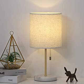 Table Lamp, Nightstand Gold Desk Lamp, Modern White Marble Base Lamp with Linen Shade for Bedside Bedroom Dressers College Dorm Bookcase