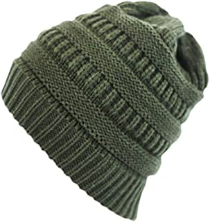 Knitted Hats for Women Classic Adult Solid Color Striped Knit Ponytail Hat