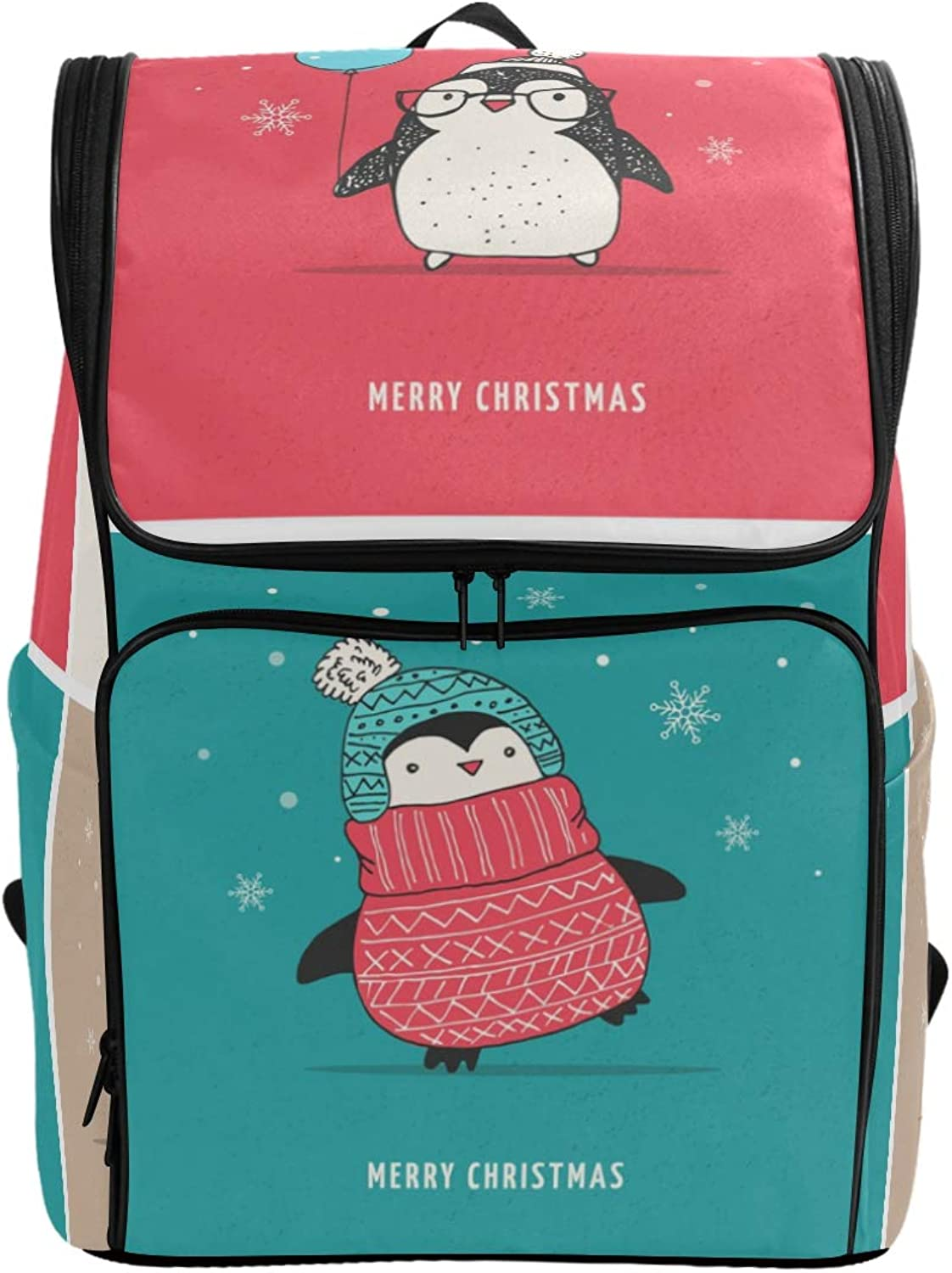 FANTAZIO Cute Penguins Merry Christmas Laptop Outdoor Backpack Travel Hiking Camping Rucksack Pack, Casual Large College School Daypack