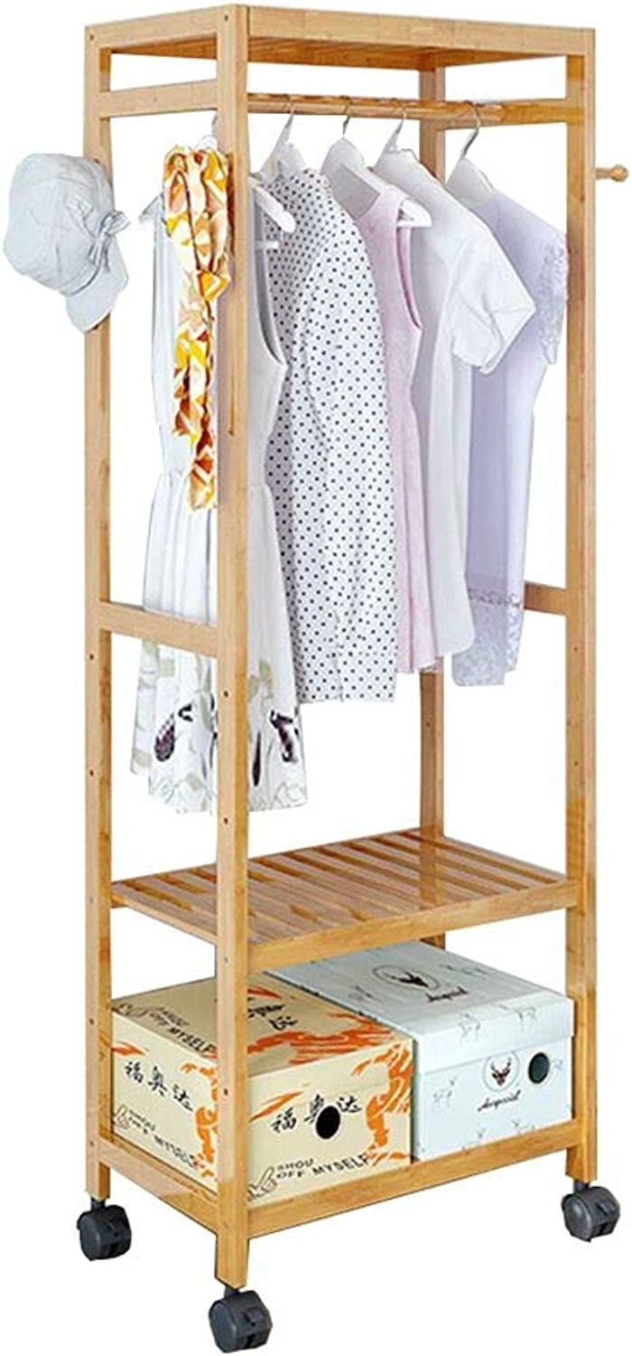 ZHIRONG Multifuctional Bamboo Coat Rack with 4 Coat Hooks 2-Tier shoes Clothes Storage Shelves (Size   60  35  165CM)