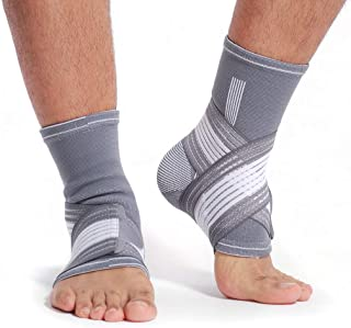 Neotech Care Ankle Brace Support (1 Pair) - Elastic & Breathable Fabric - Adjustable Compression Strap - for Men,  Women,  Youth - Left or Right Foot - Grey Color (Size S)