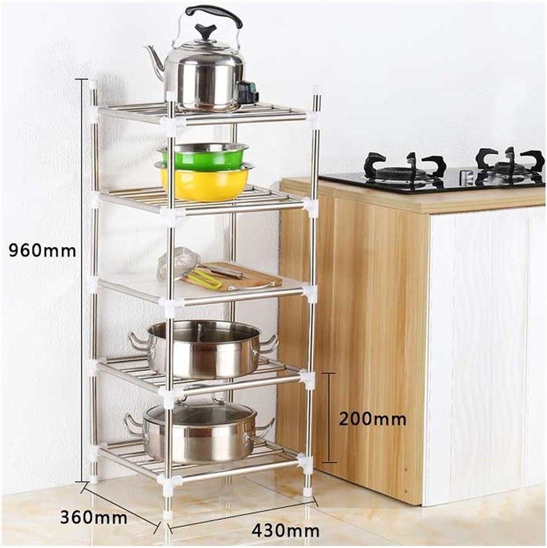 Stainless Steel Kitchen Shelves, Landing Multi-Storage Storage Racks, Put Pot Racks, Basin Racks, Finishing Racks. (Size   Five Layers)