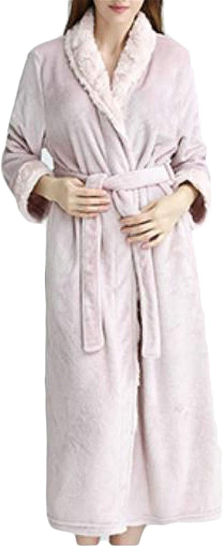 Blyent Womens Pajama Winter Fleece Shawl Collar Open Front Belt Sleep Bathrobe