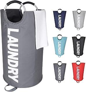 Eono Amazon Brand 82L Paniers à Linge, Pliable Sac à Linge, Pliage Grande Capacité Corbeilles à Linge (Gris Foncé, L)