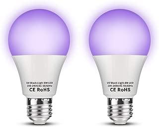 Sunmerit 8W UV LED Black Light Bulbs, A19 E26, UVA Level 385-400NM, Ultraviolet Fluorescent Lamp for Body Paints Neon Glow Posters, UV Lighting, Glow in The Dark Blacklight Party