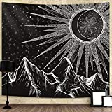 Mandala Moon Tapestry Wall Hanging Sun Mountain Star Psychedelic Black and White Wall Tapestry for Bedroom Home Wall Décor (51.2x59.1 Inches, 130x150 cm)
