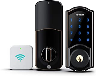 [2021 New] Smart Lock, hornbill Keyless Entry Door Lock Smart Deadbolt Locks with Keypads Connect Wi-Fi Bridge Digital Door Lock Work with Alexa & APP Auto Lock Remote Unlock Secure Code Entry