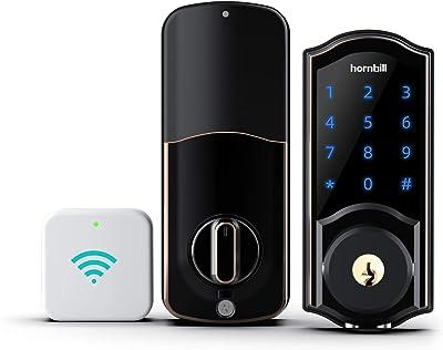 Smart Keyless Entry Door Lock, hornbill Smart Security Deadbolt Lock with WiFi Control, Bluetooth, Digital Touchscreen Keypad Work with APP Auto Lock for Home, Rentals, Office