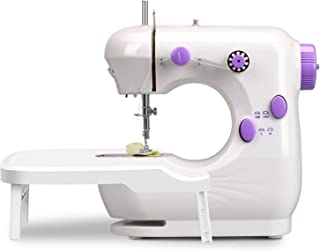 Mini Sewing Machine for beginners,Portable Household Lightweight Sewing Machine with Extension Table, Double Thread and Fr...