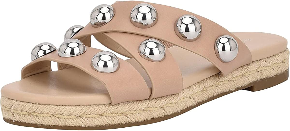 Marc Fisher Womens Prisca Faux Leather Slip On Slide Sandals