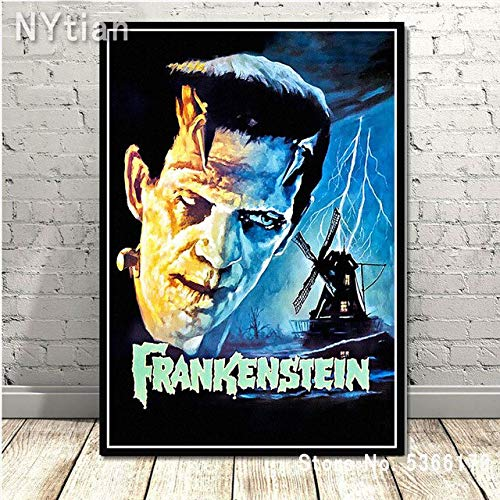 shuimanjinshan Retro Frankenstein Universal Monsters Horror Movie Poster Wall Art Canvas Painting Picture Prints Home Living Room Decoration 50X70Cm No Frame H-9350