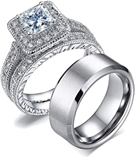 Couple Ring Bridal Set His Hers Women 10k White Gold Filled AAA Cz Men Stainless Steel Wedding Ring Band Set