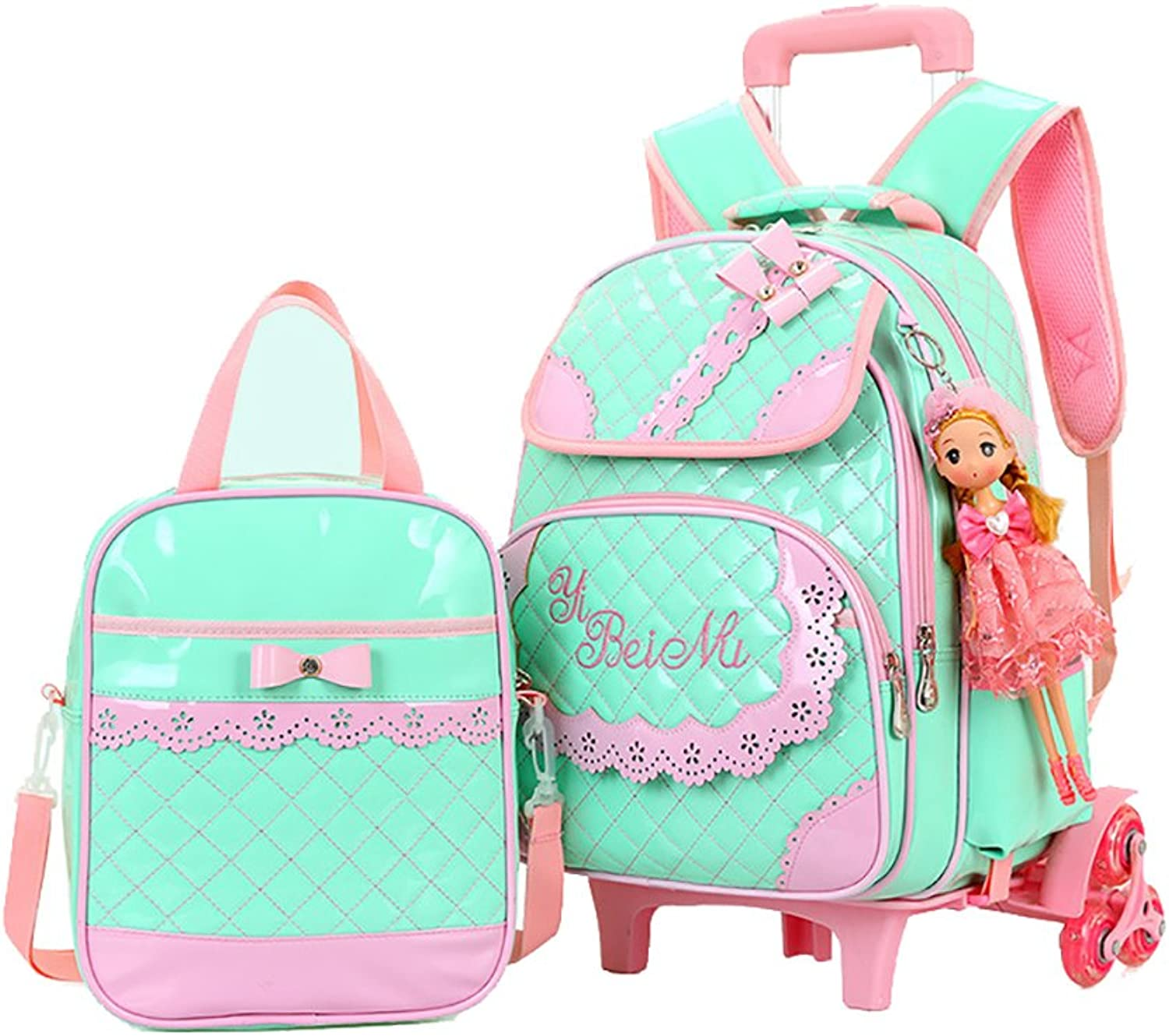 Belify Rolling Backpacks for Girls School Bags Trolley Handbag with Lunch Bag