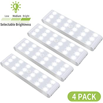 LED Closet Light, 18-LED Dimmable Motion Sensor Under Cabinet Light Rechargeable Battery Wireless Stick on Anywhere Dimmer Night Light Bar Safe Lights for Wardrobe Stairs Bedroom Hallway (4 Packs)