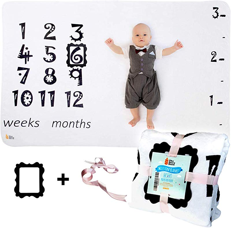 Baby Monthly Milestone Blanket 60 X 40 Fleece Swaddle Cloth For Newborn Boys And Girls