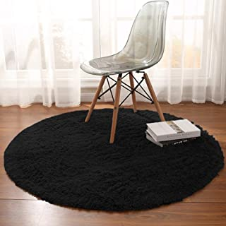 Noahas Luxury Round Rugs for Princess Castle Ultra Soft Play Tent Rug Circular Area Rugs for Kids Baby Bedroom Shaggy Circle Playhouse Carpet Nursery Rugs, 4 ft Diameter, Black