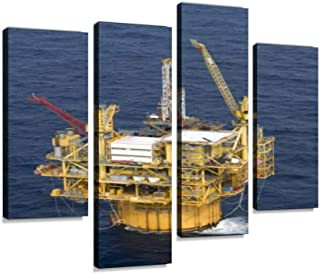 Oil or Gas rig in Gulf of Mexico Canvas Print Artwork Wall Art Pictures Framed Digital Print Abstract Painting Room Home O...