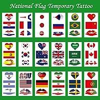 タトゥーシール 刺青シール 世界国旗 応援ステッカー 18枚セット(105*60mm)