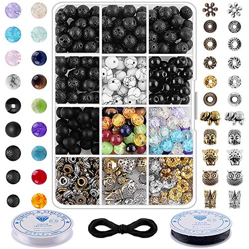 Beads for Jewelry Making Chakra Bead - 400Pcs 8mm Volcanic Beads Bulk Chakra Beads Spacer Beads with Crystal String for DIY Essential Oil Yoga Diffuser Bracelets Adult Jewelry Making Supplies