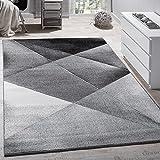 Paco Home Designer Teppich Modern Geometrische Muster Kurzflor Grau Schwarz Weiß Meliert,...
