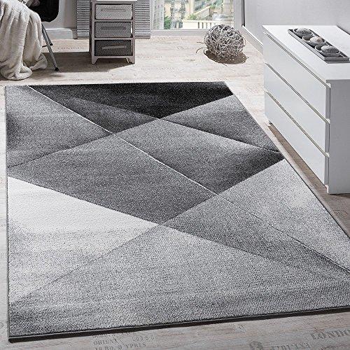 Paco Home Designer Teppich Modern Geometrische Muster Kurzflor Grau Schwarz Weiß Meliert, Grösse:70x140 cm