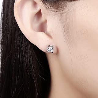 Jewelry European and American Alloy Zircon Earrings Fashion Diamond Four-Claw Earrings (Color : Silver) Earrings Gift (Color : Rose)