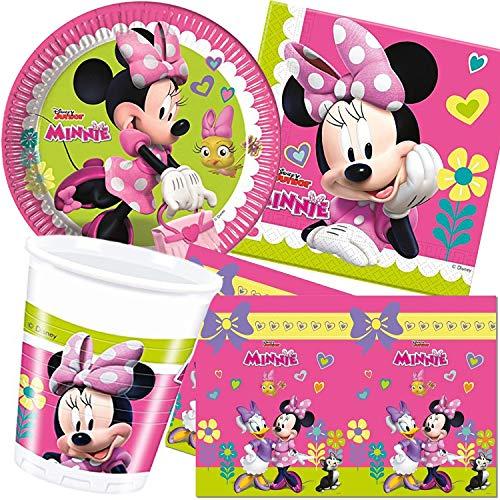 Procos/Carpeta Set de fête de 62 pièces, motif Minnie, avec assiette + gobelet + serviettes + nappe – Décoration pour anniversaire d'enfant, thème Disney, souris, rose, fille