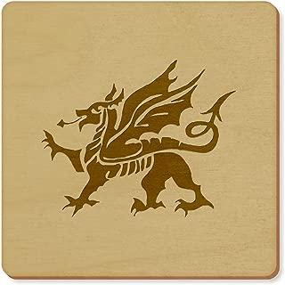 Azeeda 6 x 'Welsh Dragon' 95mm Square Wooden Coasters (CR00028589)