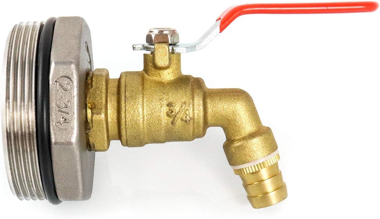 "QWORK 2"" Drum Faucet Brass Barrel Faucet with EPDM Gasket for 55 Gallon Drum : Industrial & Scientific"